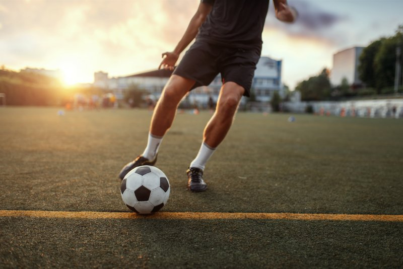 male athlete playing soccer
